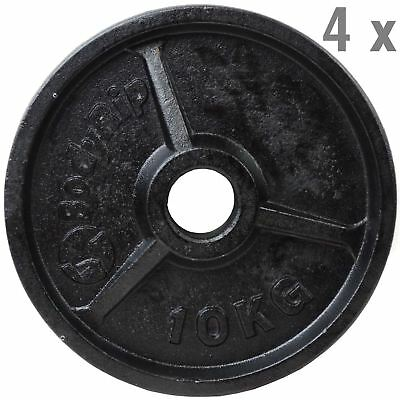 OLYMPIC WEIGHT PLATES 4 x 10kg DISC WEIGHTS EXERCISE GYM TRAIN FITNESS