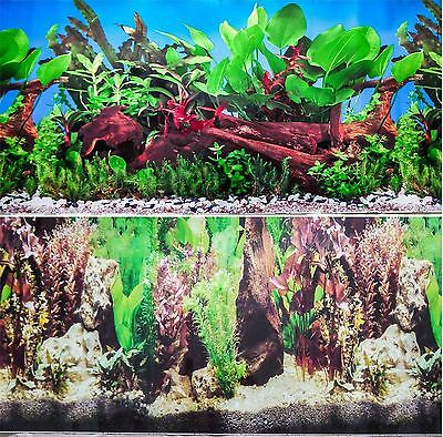 "16"" Double Sided Aquarium Background Backdrop Fish Tank Reptile Vivarium Marine"