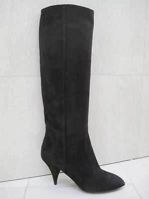 849e2df51dea NIB YSL Yves Saint Laurent CHARLIE Knee High Brown Suede Tall Boots Shoes 38