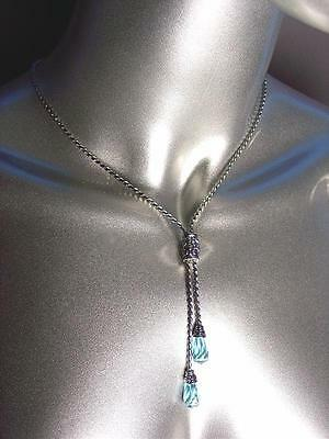 CLASSIC Designer Inspired BALINESE Blue Topaz Crystals Silver Cable Necklace Set