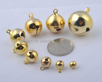 20Pcs 6MM gold plated copper Jingle Bells Charm pendant Beads DIY Findings