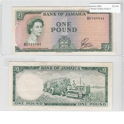 1960 1 Pound Banknote from Jamaica in EF-AU Condition.
