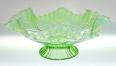 """Northwood Jefferson VINTAGE #245 Green Opalescent 8"""" Footed Bowl c.1907"""
