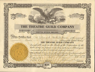 The Theatre Guild Company   1920s New Haven Connecticut stock certificate share