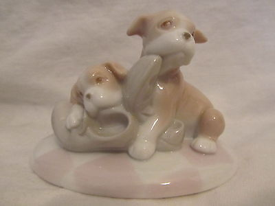Boxer BOXERS PUPPIES playing with SHOES Dog puppy PORCELAIN figurine STATUE