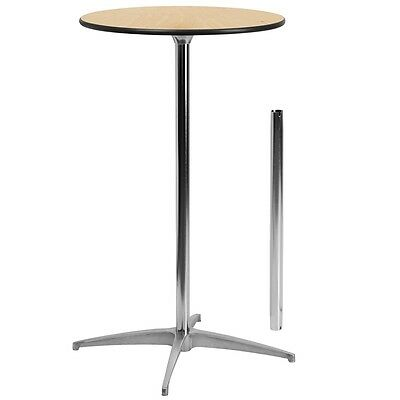 24'' Round Wood Cocktail Table with Standard and Bar Height Table Columns