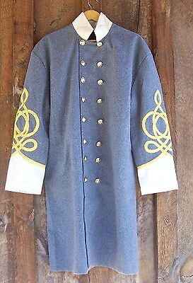civil war confederate frock coat with 4 row braids and pleats creme 50