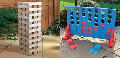 Giant Jenga + Large Connect 4 Party Garden Games. Indoor Or Outdoor Game Package