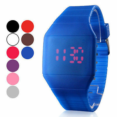 Rubber LED Light Up Digital Sport Wrist Watch Kids Men Women Boy Girl CA2 Newest