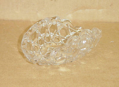 EAPG CRYSTAL WAFFLE BLOCK #331 CURVED CALLING CARD OLIVE TRAY DUNCAN GLASS 1891