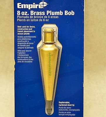 8 OZ SOLID BRASS PLUMB BOB w/ THREAD STRING CAP & REPLACEABLE HARDENED STEEL TIP