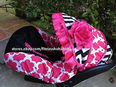 Baby Girl Black Pink Infant Car Seat Cover Canopy Fit Most