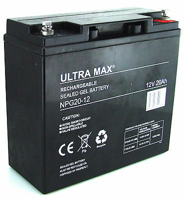 2(Pair)x 12V 20AH ULTRA MAX GEL Sealed Rechargeable Battery Standby & Cyclic use
