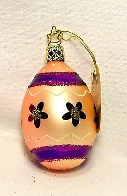 Inge's Christmas Heirlooms~Pink/Purple Easter Egg~Blown Glass Ornament~Germany