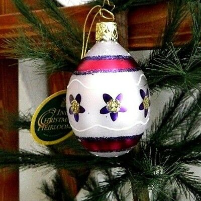 Inge's Christmas Heirlooms Purple/Pink Easter Egg Blown Glass Ornament  Germany