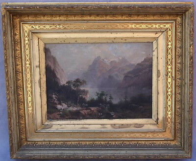 19th Century Framed Oil Painting Swiss Landscape By  J.J. Spring (6435)