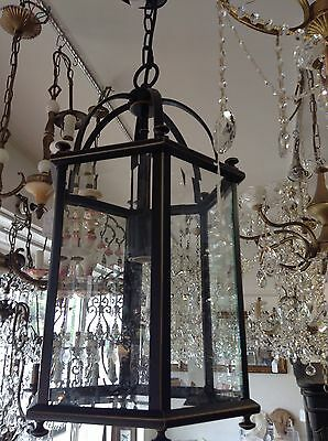 Small Bronze Lantern French Country Pendant 1 Light Chandelier Vintage