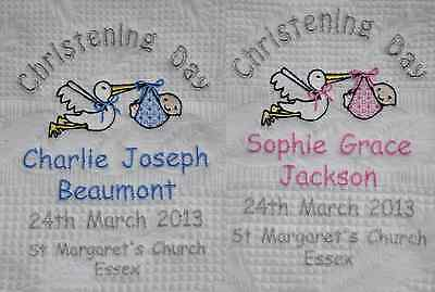 Personalised Baby Christening Shawl - Blue/Pink with Silver Stork Design - Gift