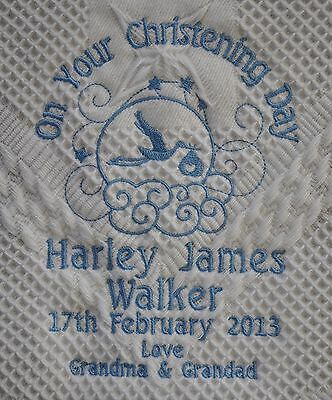 Personalised Baby Christening Shawl in white - Pink Blue Stork Design Gift