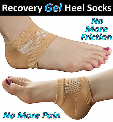 MEDIPAQ™ Recovery Gel Heel Socks - Sore Foot Blisters Cracked Skin Pain Relief