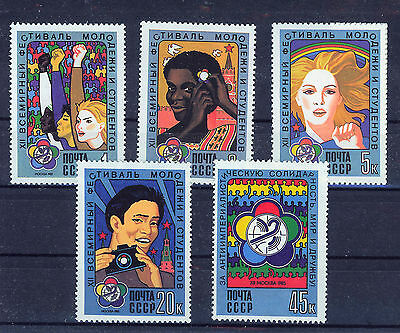 RUSIA/URSS  RUSSIA/USSR 1985  MNH SC.5356/5360 Youth World Festival
