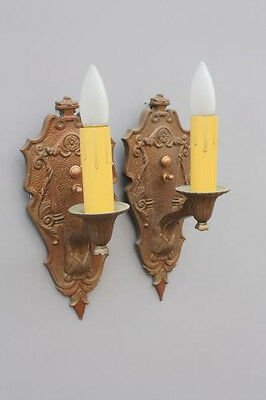 Pair 1920s Antique Sconce Lights Fits Colonial Tudor Spanish Revival Home (5338)