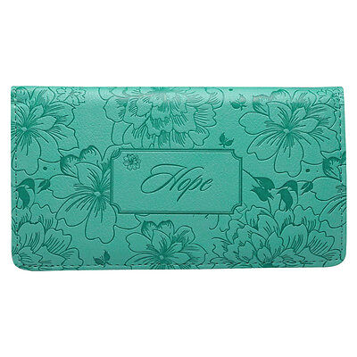 CHECKBOOK COVER Hope Faux-Leather Turquoise, by Christian Art Gifts