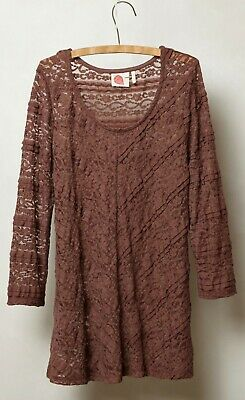 f9860872ae9786 Lilka Sheer Lace Colette Pullover Top Sz Small Brown Maeve NW ANTHROPOLOGIE  Tag
