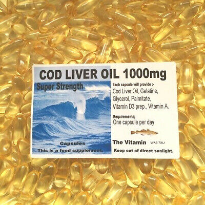 The Vitamin Cod Liver Oil Super Strength 1000mg 365 Capsules - Bagged