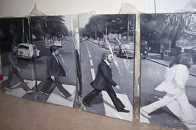 Beatles Abbey Road 4 pieces 28x16 paintings NOT prints or posters Framing Avail.