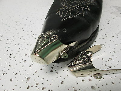 Boot Flat Tips Set   Silver Tone  with Western Fancey Long