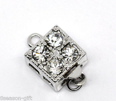 5 Sets Square Rhinestone Pinch Push Clasps 16x10mm