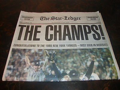New York Yankees---The Champs---The Star Ledger---Oct. 23, 1998---Entire Paper