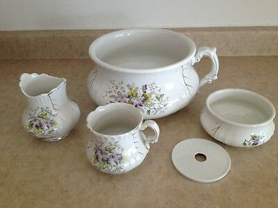 Antique Chamber Pot 5 Piece Set Waco China Hand Painted W/gold Acccents