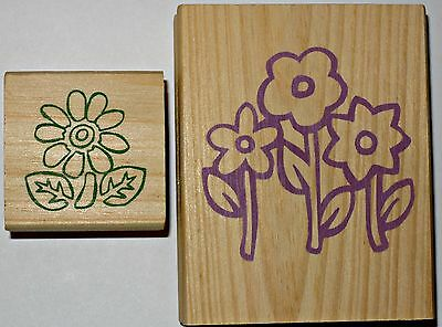 Lot of 2 RUBBER STAMPS FLOWERS Scrapbooking Crafts wood wooden set Large & Small