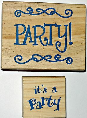Lot of 2 Rubber Stamps IT'S A PARTY & PARTY Scrapbooking Crafts wood wooden set