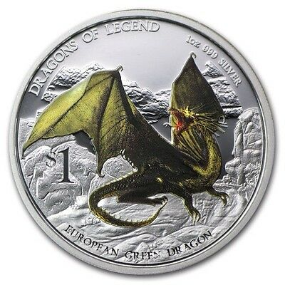 Tuvalu 1$ European Green Dragon 2013 Dragons of Legend Proof Silver Coin PF69UC