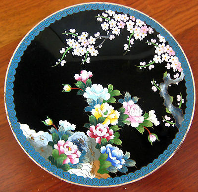 "Antique Japanese Cloisonne Enamel Meiji Cherry Blossom Charger 7"" Signed Inaba"