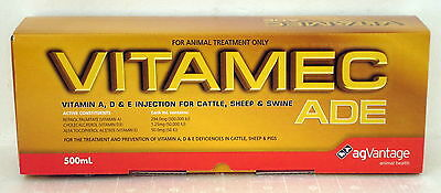 Vitamin ADE Injection 500mL for Cattle, Sheep and Pigs