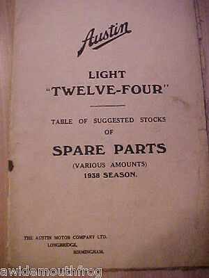 Austin Light Twelve Four Table Of Suggested Stocks Of Spare Parts 1938 Season