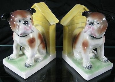 Vintage 1930's Cute Bull Dog Bookends Norwood Cincinnati German Porcelain