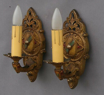 Pair 1920s Sconce Lights Antique English Tudor Tuscan Spanish Revival (4246)