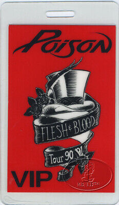 POISON 1990-91 FLESH & BLOOD TOUR Laminated Backstage Pass VIP