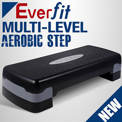 Everfit Aerobic Exercise Workout Gym Cardio Fitness Bench Step Level Black