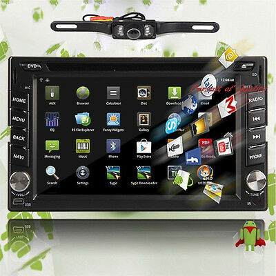 """Android 4.2 6.2"""" Double 2 Din 3G-Wifi GPS Nav Indash Car DVD Player BT+Camera"""
