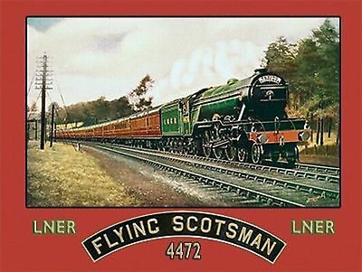 Flying Scotsman Steam Train, LNER Railway Engine 4472, Old Small Metal Tin Sign