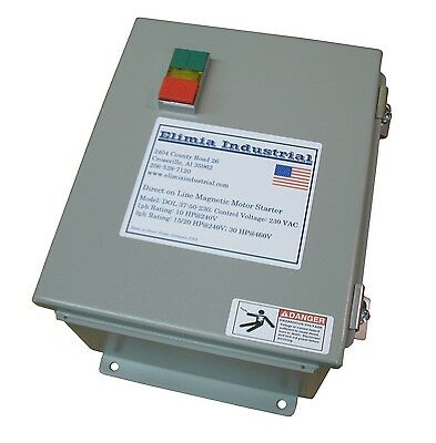 Elimia DOL Heavy Duty Motor Starter 10 HP 240V 28-36A Hinged Steel Enclosure