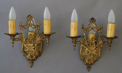 Pair 1920s Brass Sconces Light English Tudor Gothic Spanish Revival (4687)