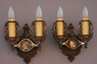 Pair 1920s Double Crested Sconce Lights Antique Spanish English Tudor (4953)