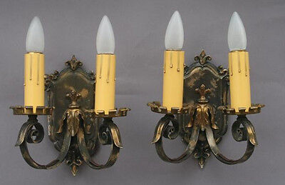 Pair 1920s Wall Double Sconce Lights Lamp Spanish Revival Home (4415)